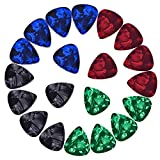 Mudder Assorted Celluloid Guitar Picks Plectrums 0.46 mm, 0.71 mm, 0.96 mm and 1.2 mm, 20 Pack