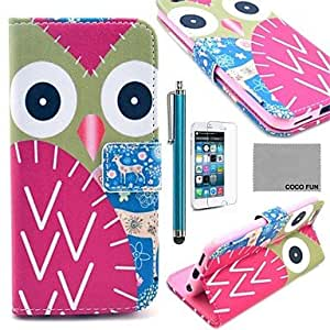 YULIN Colorful Owl Pattern PU Leather Full Body Case with Screen Protecter, Stand and Stylus for iPhone 6 Plus 5.5