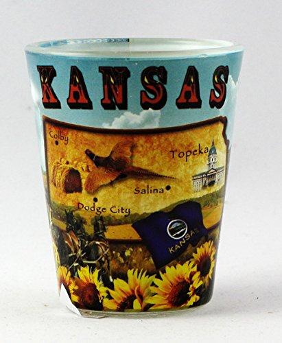 Kansas State Map Collage Shot Glass rtp World By Shotglass ksmapcollage
