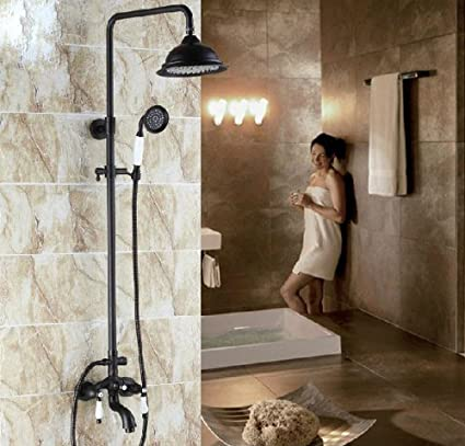 Rozin Oil Rubbed Bronze Shower Faucet Set Tub Mixer Tap 8-inch Rain ...