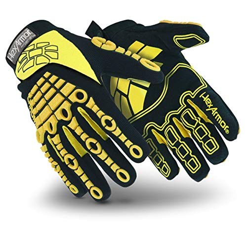 HexArmor 4025-L Size 9 Black/Yellow Chrome Series Clute Cut Super Fabric/Leather Reusable 360 Degree Cut Resistant Gloves with Elastic Cuff, English, 15.34 fl. oz, Plastic, 1 x 7.5 x 4.5 ()