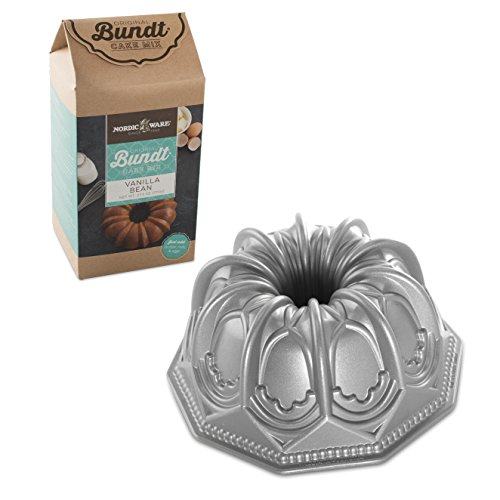 Nordic Ware Vaulted Cathedral Cast Aluminum Bundt Pan with Vanilla Bean Mix