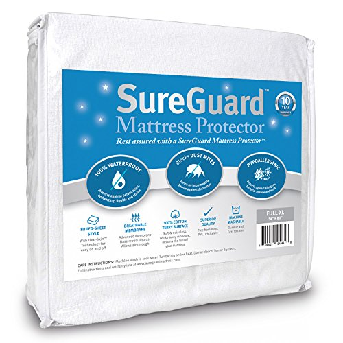 Full Extra Long (XL) SureGuard Mattress Protector - 100% Waterproof, Hypoallergenic - Premium Fitted Cotton Terry Cover - 10 Year Warranty (Full Sheets Xl)