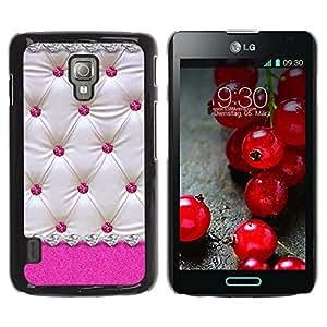 ZONECELL Negro Borde Trasera Funda Imagen Carcasa Diseño Tapa Cover Skin Case para LG Optimus L7 II Dual P715 P716 / Optimus Duet+ - rosa de cuero patrón de diamante del enrejado blanco