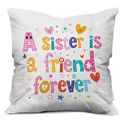 indibni Sister is Friend forever Colorful quoted letter Cushion (12×12 inch) with Filler – White