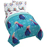 Jay Franco Disney Frozen Swirl 4 Piece Twin Bed Set - Includes Reversible Comforter & Sheet Set - Bedding Features Elsa & Ana - Super Soft Fade Resistant Polyester - (Official Disney Product)