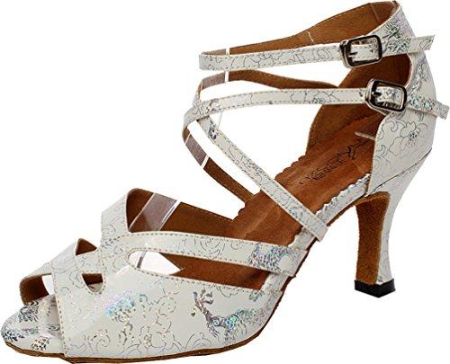 CFP Party Silver Tango Dance Cha Ballroom Womens PU shoes Rumba Latin Heel Mid JJ 6230 cha zqRzr