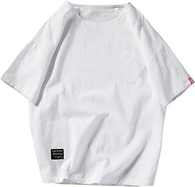 Camisetas Algodón Lino Hombre Casual Verano 2019 Nuevo SHOBDW Camisetas Hombre Manga Corta Color Sólido Basicas Cuello Redondo Blusa Tops Hombre Suelto Tallas Grandes M-5XL: Amazon.es: Ropa y accesorios