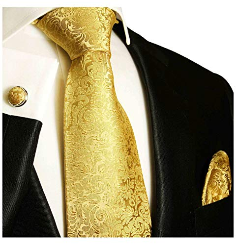 Paul Malone Necktie, Pocket Square and Cufflinks 100% Silk Gold,One Size