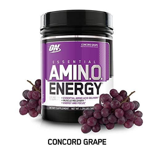 OPTIMUM NUTRITION ESSENTIAL AMINO ENERGY, Concord Grape, Keto Friendly BCAAs, Preworkout and Essential Amino Acids with Green Tea and Green Coffee Extract, 65 Servings