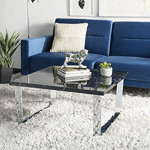 Safavieh COF6201B Home Collection Carmen Black Marble and Chrome Square Coffee Table, (Coffee Round Table Glass Black)
