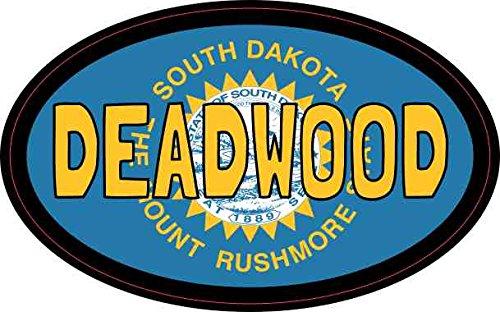 StickerTalk Oval Deadwood South Dakota Vinyl Sticker, 4 inches by 2.5 inches
