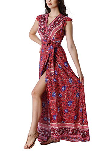 VFSHOW Womens Summer Boho Floral Print Ruffle Sleeve V Neck Pockets Split Casual Beach Party Wrap Maxi Dress G2959 RED S