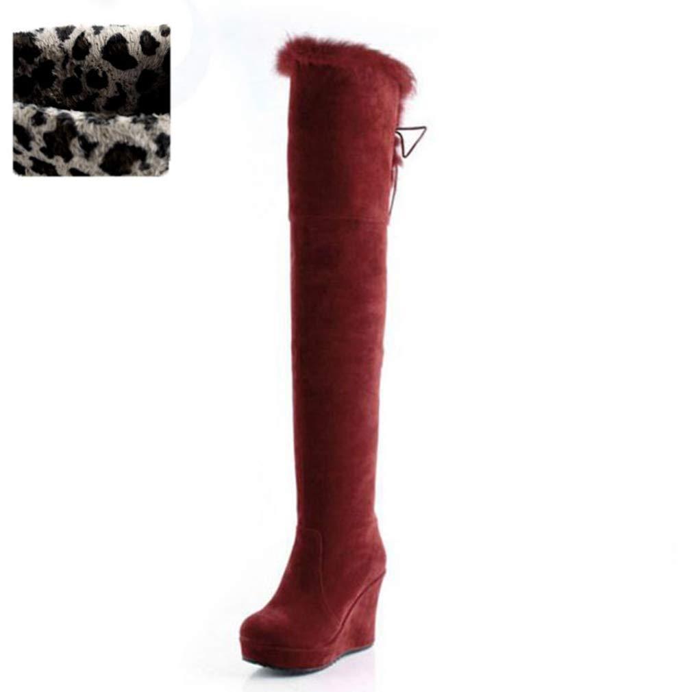 Red Velvet T-JULY Women High Heels Over Knee Boots Ladies Wedges Real Fur Platform Zipper Winter Large Size Long Footwear