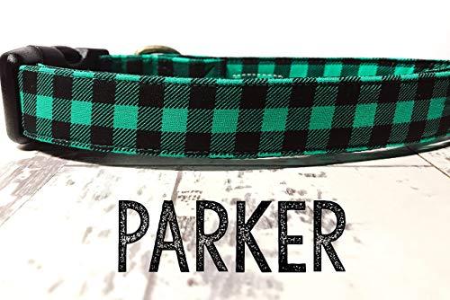 Parker - Green Black Buffalo Plaid Handsome Boy Preppy Plaid Organic Cotton Pet Collar