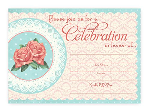 Vintage Chic Invitations - 10 Invitations 10 Envelopes -