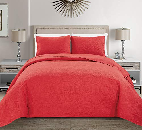 MK Home Mk Collection 3pc King/California King Solid Embossed Bedspread Bed Cover Over Size Red