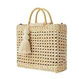 Summer Beach Bag Straw Totes Woven Shoulder Bag Rattan Women Straw Bucket Handbag Rattan Messenger Bag, with Wooden Handle