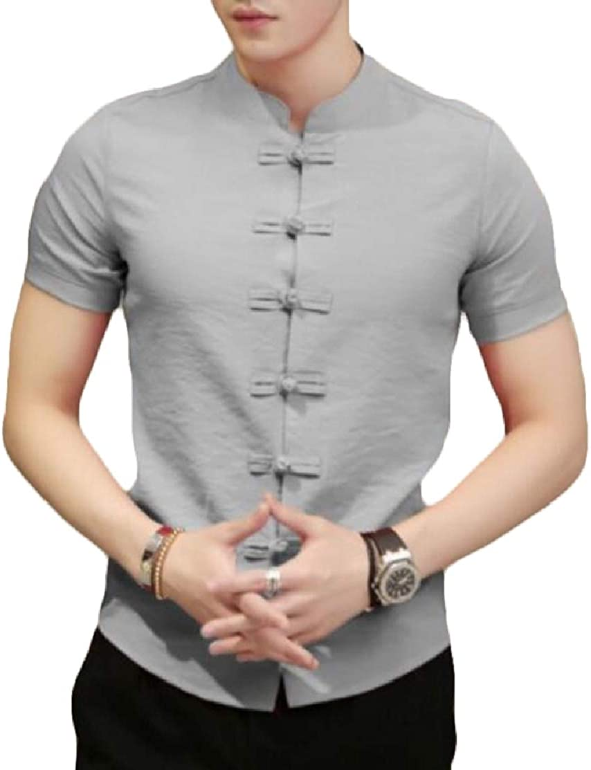 Domple Men Short Sleeve Stand Collar Casual Frog Button Chinese Style Shirt