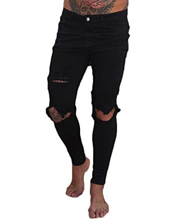 bf82882b7230 XARAZA Men s Ripped Broken Hole Skinny Pencil Jeans Denim Pants at ...