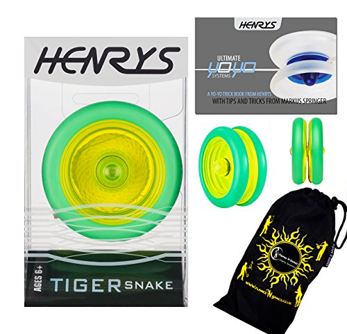 Henrys TIGER SNAKE YoYo (Green) Professional Looping Trick (2A) Bearing YoYo with AXYS system +Instructional Booklet of Tricks & Travel Bag! Pro YoYos For Kids and Adults. by Henrys ()
