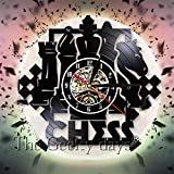 Dkzguq LED Light Wall Clock Chess Vintage