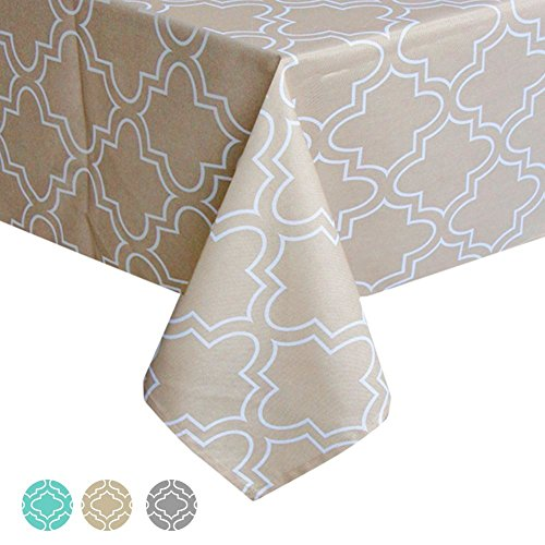 ColorBird Elegant Moroccan Tablecloth Waterproof Spillproof Polyester Fabric Table Cover for Kitchen Dinning Tabletop Decoration (Rectangle/Oblong, 60 x 120 Inch, Kakhi)