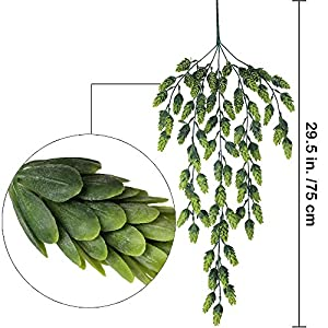 "Supla 2 PCS Artificial Hops Flower Vine Garland Plant Fake Hanging Vine Hops Faux hops Artificial Hanging Plants in Frosted Green Each 29.5"" for Indoor Outdoor Front Porch Flower Decor Floral Greenery 2"