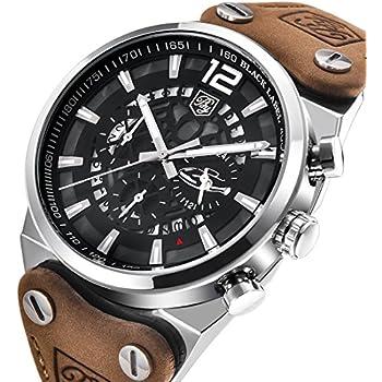 Mens Quartz Watches Brown Leather Strap Chronograph Luminous Big Dial Skeleton Sport Wrist Watch for Men (Brown)