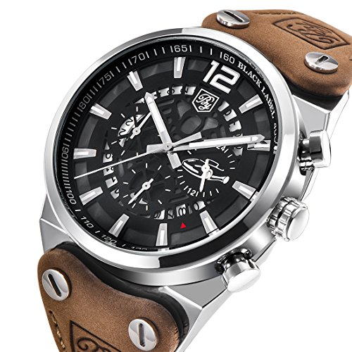 - Mens Quartz Watches Brown Leather Strap Chronograph Luminous Big Dial Skeleton Sport Wrist Watch for Men (Brown)