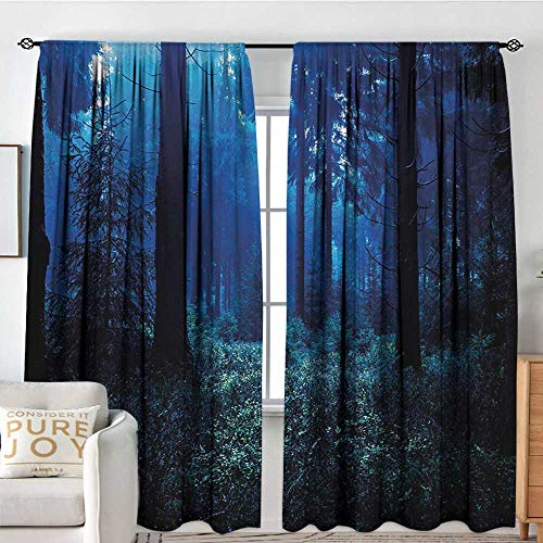 NUOMANAN Modern Blackout Curtain Night,Misty Nature Scene of