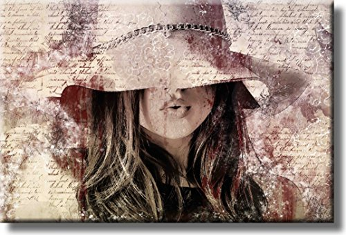 Girl with the Hat Fashion Art Picture on Acrylic , Wall Art Décor,