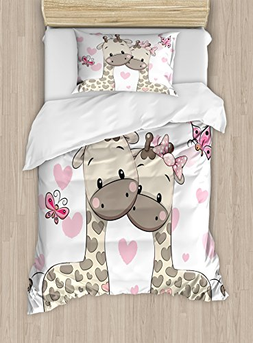 Ambesonne Kids Decor Duvet Cover Set, Cute Giraffes in Pure Valentine's Love with Butterflies and Hearts Bows Art, 2 Piece Bedding Set with Pillow Sham, Twin/Twin XL, Pink White and Grey
