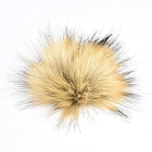 DIY Large Faux Raccoon Fur Pom Pom Ball with Press Button for Knitting Hat TR (color - - Choppers Beanie Hat