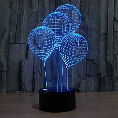 3D Illusion Lamp Gawell Night Light Balloom 7 Changing Colors Touch USB Table Nice Gift Toys Decorations (Laser With Party Caps compare prices)