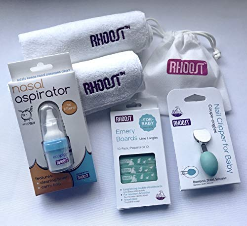 Rhoost Infant Bathing and Health Gift Set (17-pieces) - Nail Clipper, Emery Boards, Nasal Aspirator, Cleaning Brush, Carry Bag, and Ultrasoft Washcloths from Rhoost