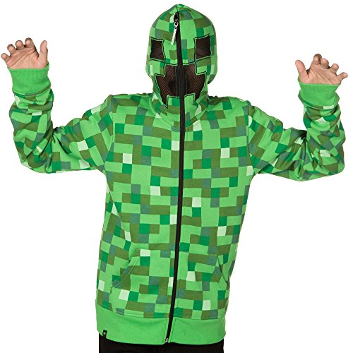 Minecraft Costume Creeper (Minecraft Big Boys' Creeper Premium Zip-up Hoodie (Green,)
