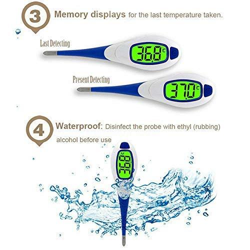 axilar y recta para Bebes con Lectura Pantalla LCD,Term/ómetro oral Ni/ños y Adultos con Un Dise/ño Ultra Suave Impermeable FunRun Term/ómetro Digital con punta flexible