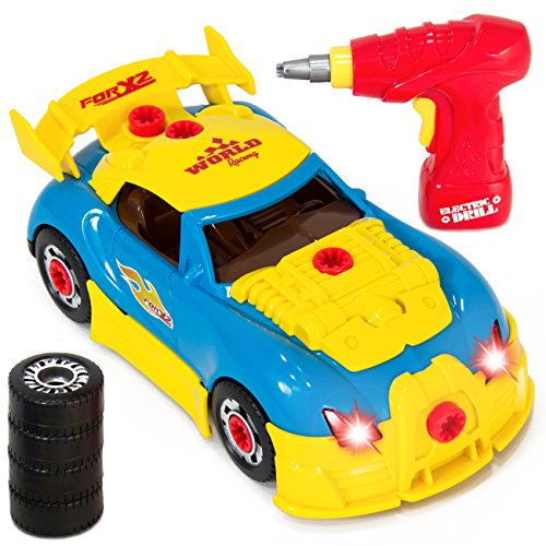 Best Choice Products Kids 30-Piece Assembly Take-A-Part Racing Car w/ Lights, Sound, Play Pieces, Drill - Multicolor