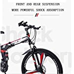 JXH-Mountain-Bike-Bicicletta-Pieghevole-21-velocit-Doppio-Freno-a-Disco-Sospensione-Totale-Anti-Slip-variabili-off-Road-Moto-Racing-Speed-per-Uomini-e-DonneBlack-27-Speed-24in