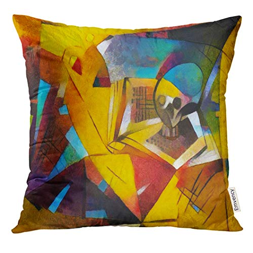 TOMKEYS Throw Pillow Cover Alternative Reproductions of Famous Paintings by Picasso Applied Abstract Kandinsky Designed in Modern Decorative Pillow Case Home Decor Square 18x18 Inches Pillowcase