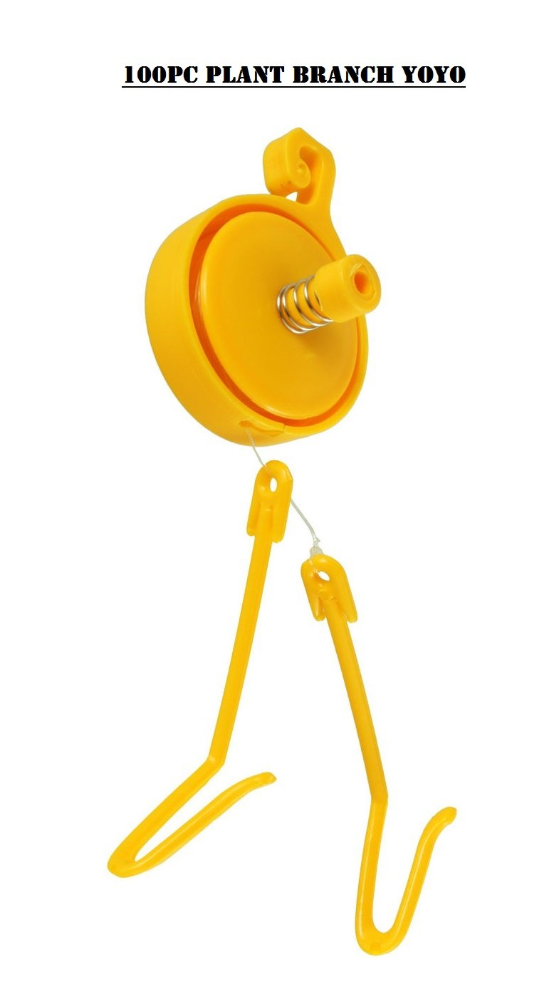 Bay Hydro Plant Branch YOYO W/ Spring Stopper & 2 Hooks YELLOW 100pc