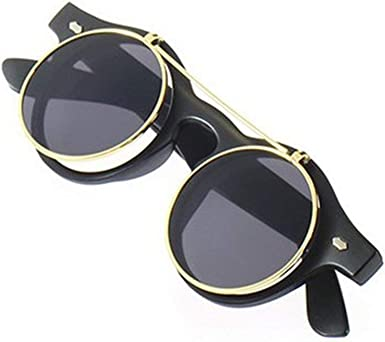 Retro Vintage Gothic Round Flip Up Sunglasses Steampunk Glasses Goggles 0cn
