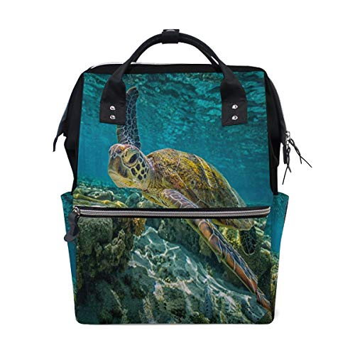 Diaper Bags Hawksbill Sea Turtle Fashion Mummy Backpack Multi Functions Large Capacity Nappy Bag Nursing Bag for Baby Care for Traveling ()