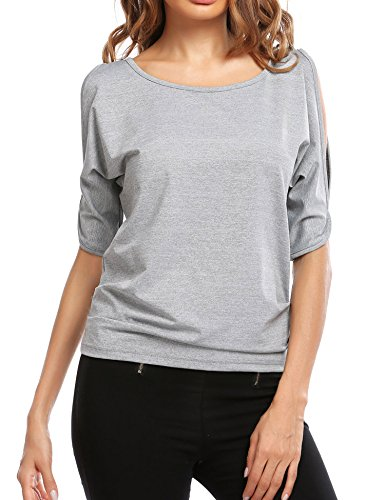 Easther Women's Crew neck Short Sleeve Ruched Back Tie Cut Out Shoulder Top(X-Large,Grey) (Back Tie Cut Out)