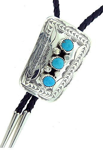 Rich Peel Made in USA by Navajo Artist Wilber and or Elsie Myers. Sterling Silver-Turquoise Bolo Tie
