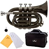 Cecilio 2Series PT-280BK Black Lacquer Brass B Flat Pocket Trumpet + Hard Case, Mouthpiece and Accessories