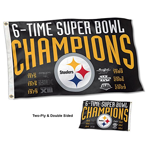 WinCraft Pittsburgh Steelers Double Sided 6 Time Super Bowl Champions Flag