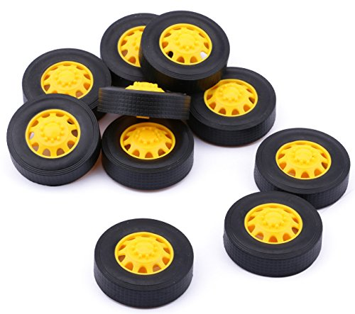 Yeeco 10Pcs Plastic Toy Car Tire Wheel, Mini Φ342mm Smart RC Car Robot Tyres Model Gear Parts with Convex Wheel Hub -