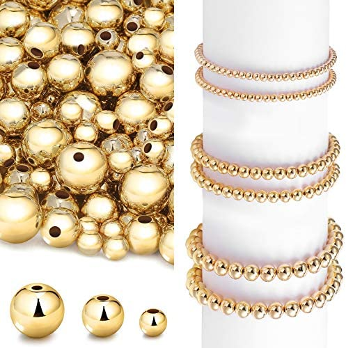 1200 Pieces Round Beaded Spacer Beads Seamless Smooth Loose Ball Beads for Stackable Bracelet Jewelry Craft Making, 8 mm, 6 mm, 4 mm (Gold)